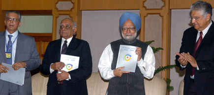 "The Prime Minister, Dr. Manmohan Singh releasing the book titled ""IIT Alumni Impact Study-2008 at the inauguration of the 6th Annual PAN IIT Global Conference, in New Delhi on December 19, 2008."