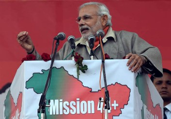 Prime Minister Narendra Modi adressing a BJP campaign meeting at the Sher-e-Kashmir ground