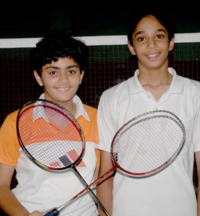 Daaman Sharma and Mehak Sood who won the girls under-13 doubles crown.