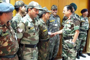 Major General CM Sharma, MG(Artillery), Western Command interacting with the officers and troops on the occasion of the Gunners' Day at Chandimandir