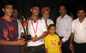 darsh Shiksha Niketan of Delhi which won the boys under-19 trophy in the CBSE North Zone-I Badminton Championship at Shivalik Public School in Mohali on Tuesday.