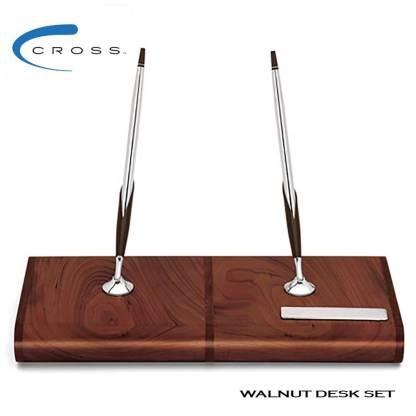 Cross walnut desk set