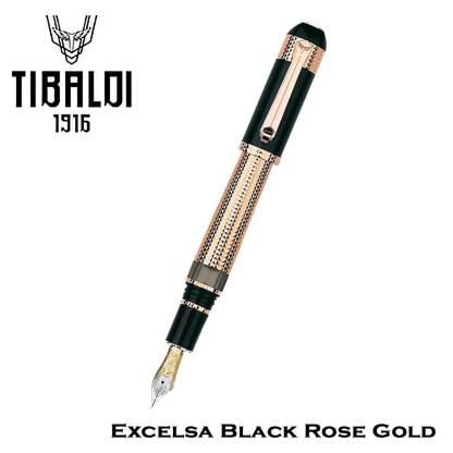 Tibaldi Excelsa Black Rose Gold Fountain Pen