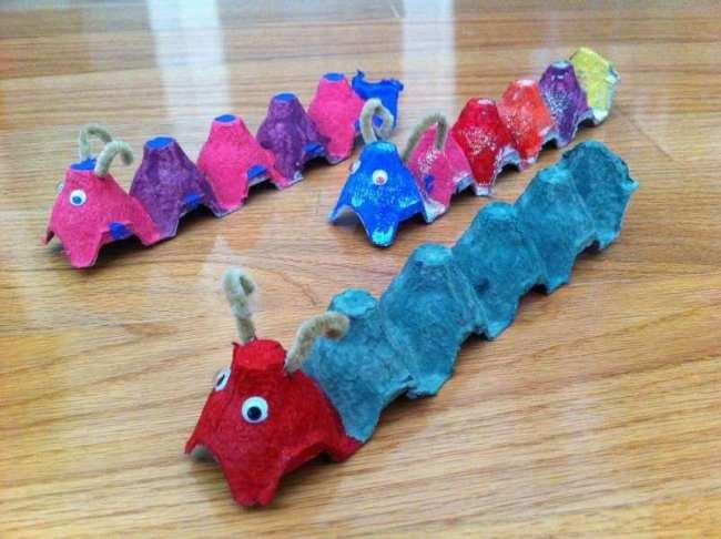 The very hungry caterpillar raft egg carton