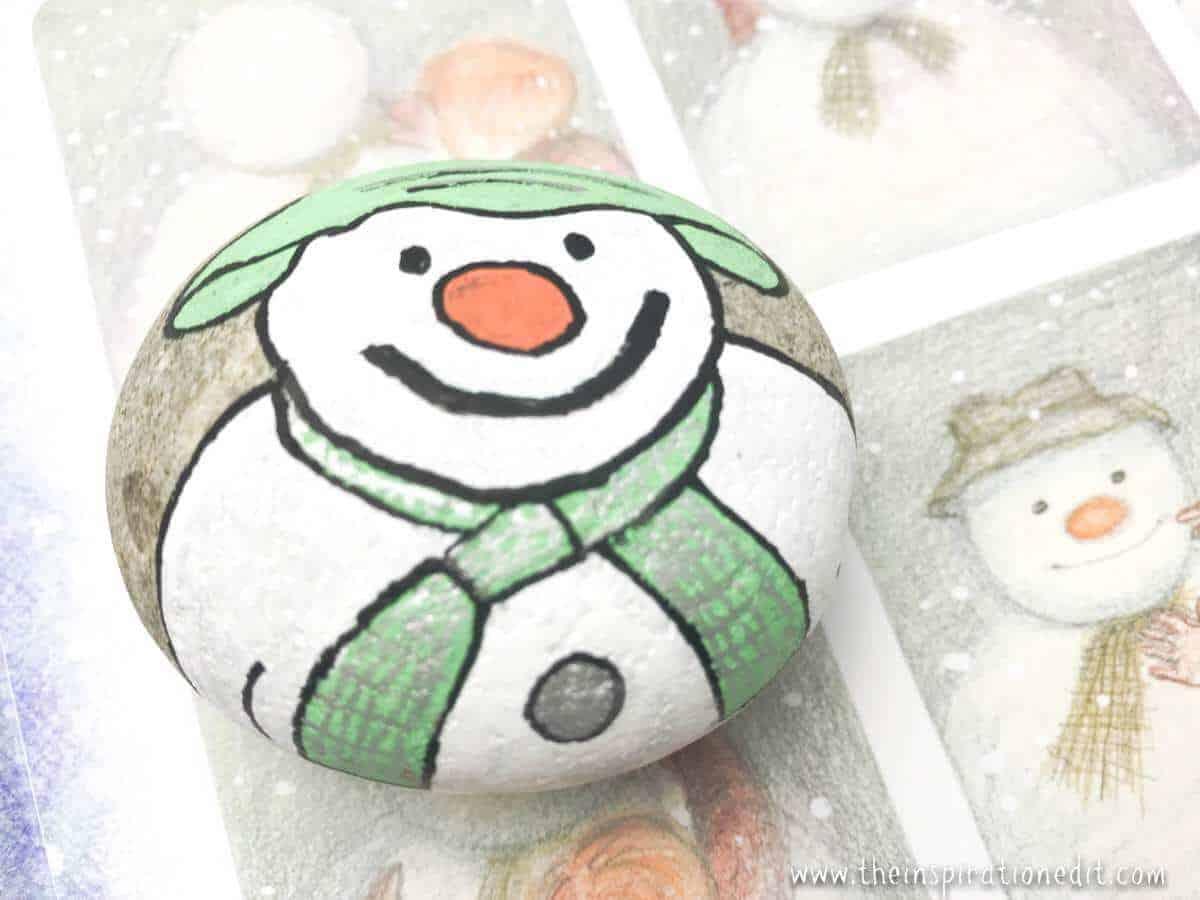 snowman painted rock