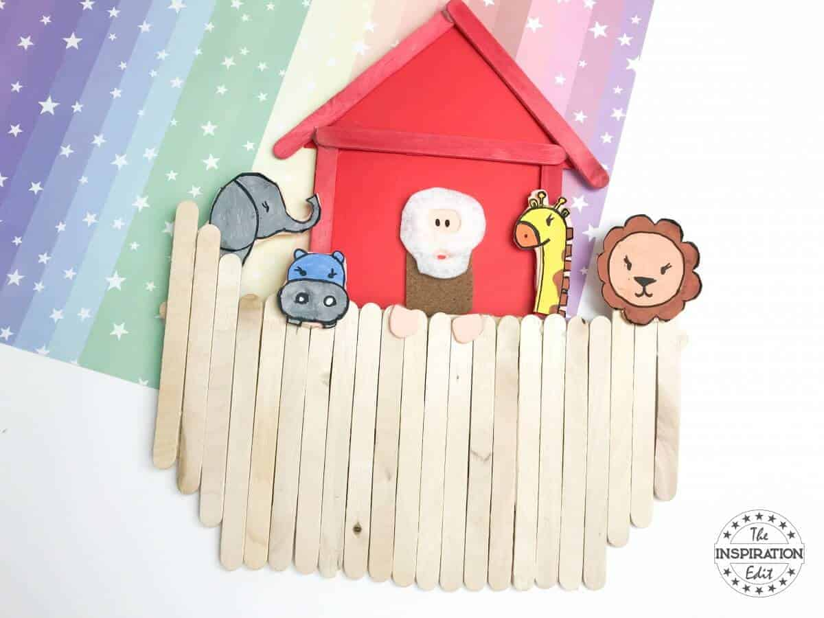 Noah\'s Ark Popsicle Stick Craft With Template · The Inspiration Edit