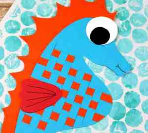 paper weave seahorse craft for kids