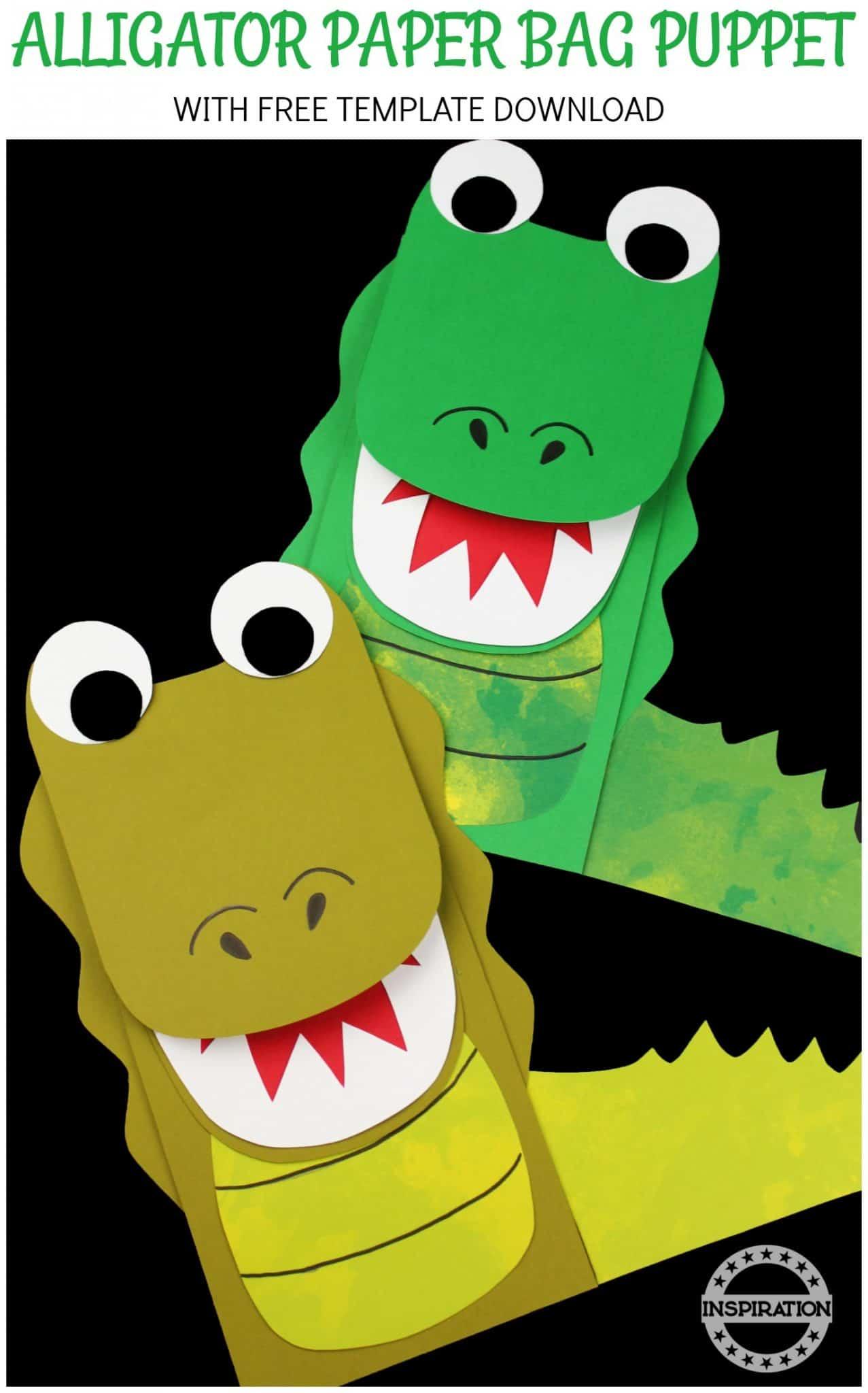 Alligator Craft And Paper Bag Puppet For Preschoolers