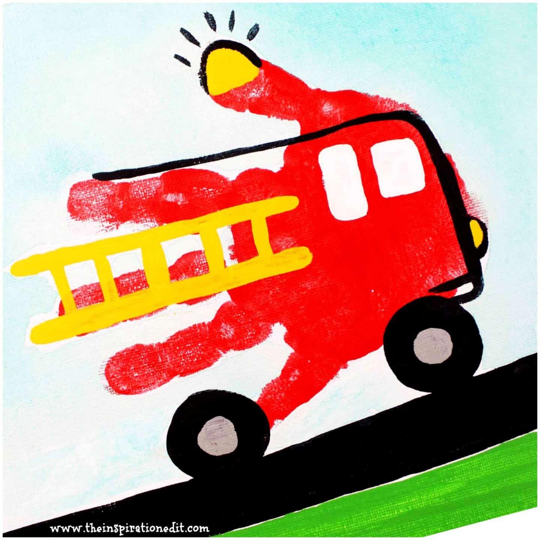 Preschool Fire Truck Craft Handprint Art The Inspiration