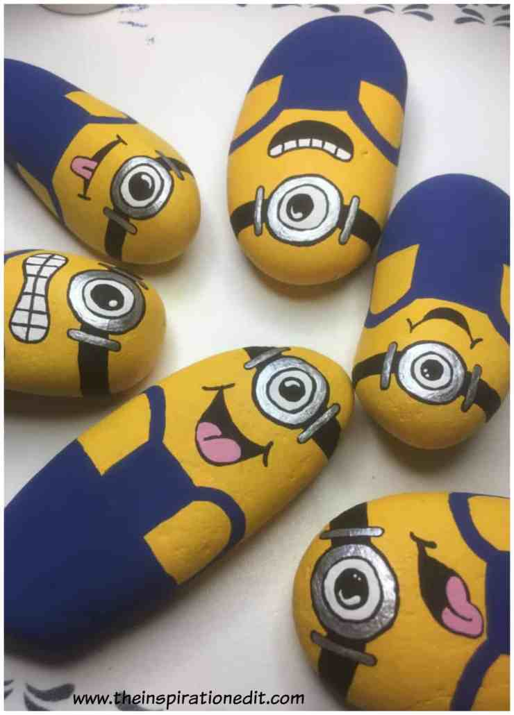 minions one - Minion Rock Painting By Babara Beal