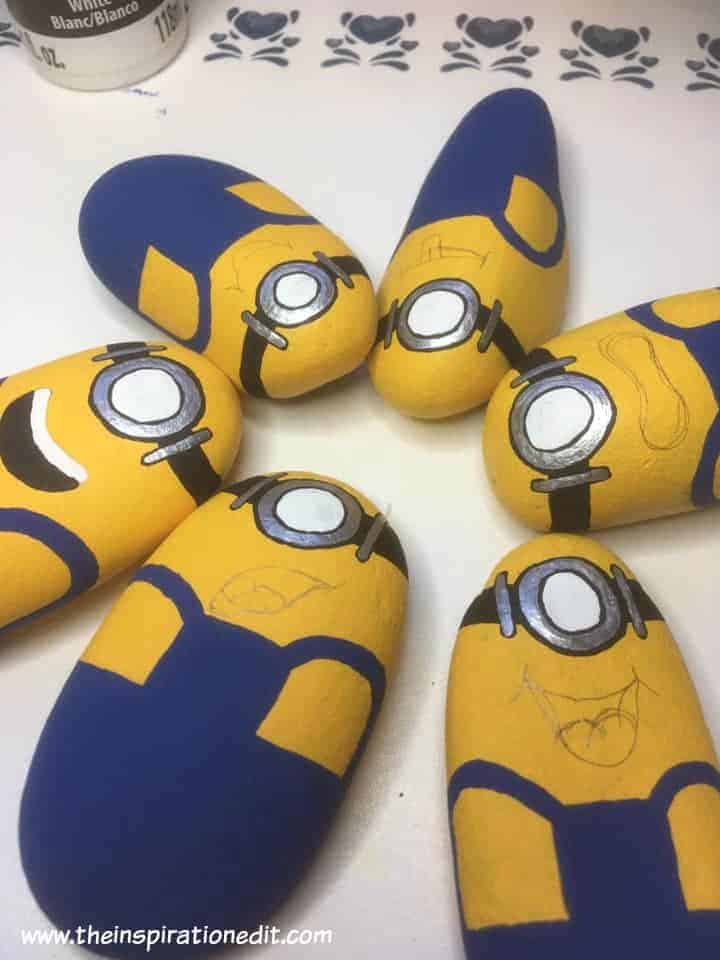 minions stones - Minion Rock Painting By Babara Beal