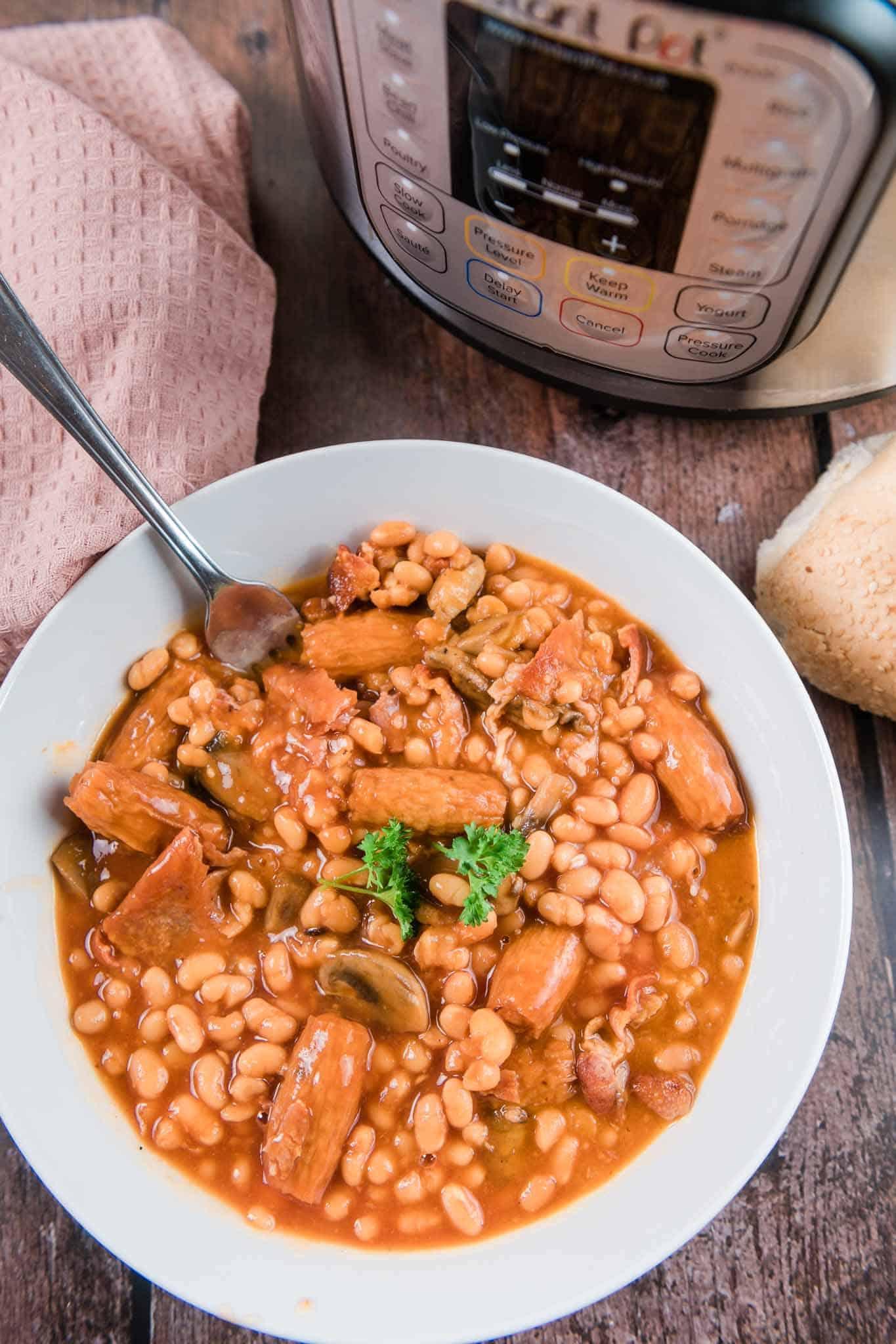 instant pot cowboy casserole ingredients in bowls