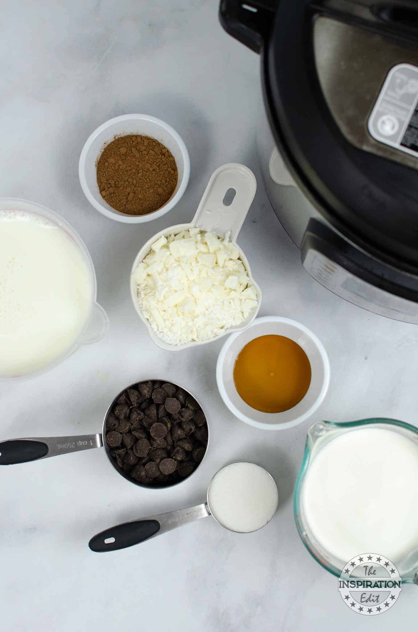 ingredients for Instant Pot Tuxedo Hot Chocolate