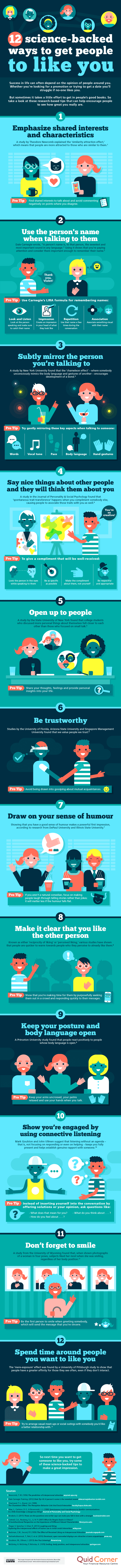 12 science backed ways to get people to like you infographic