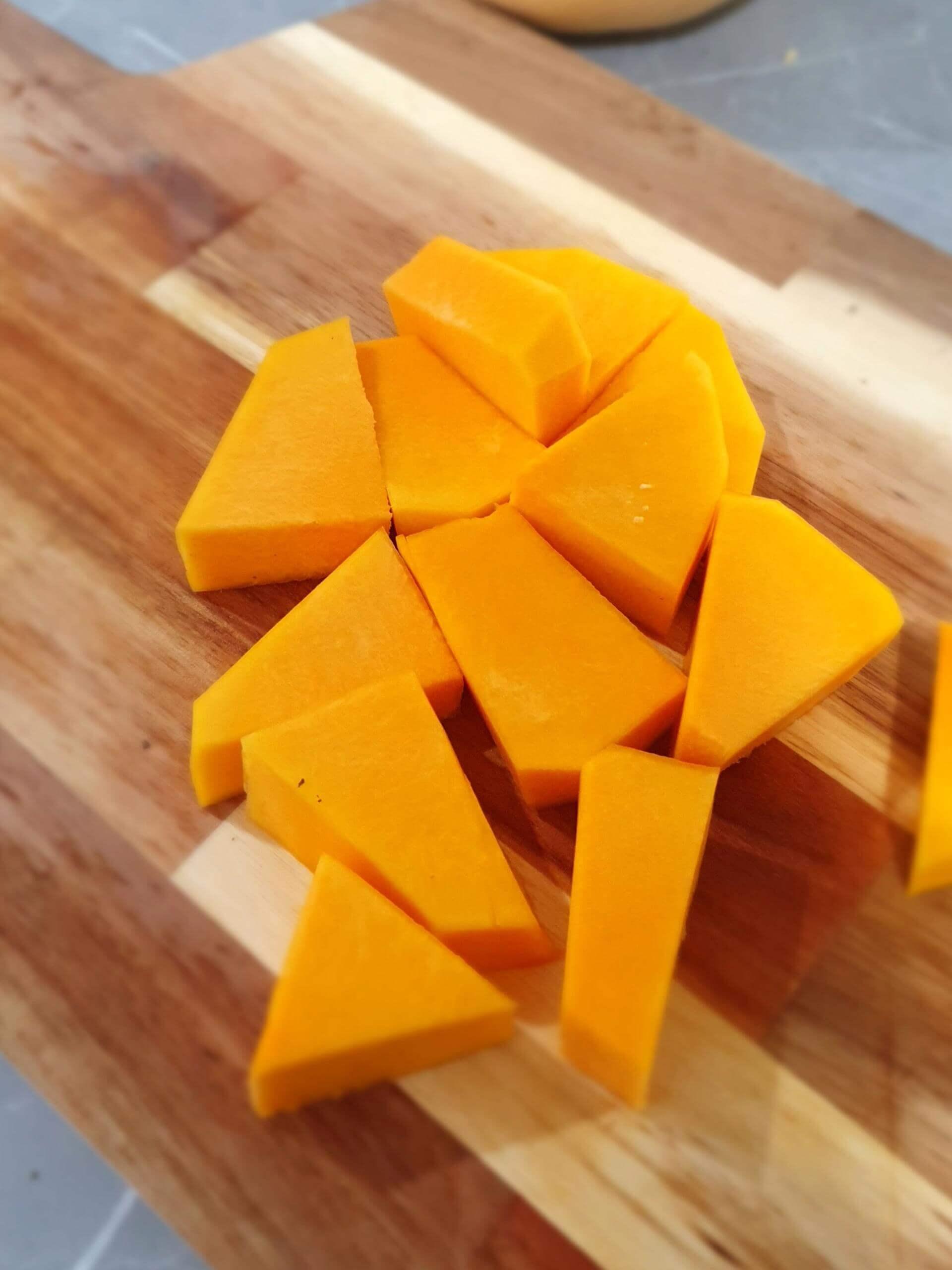 chopping pumpkin for pumpkin soup
