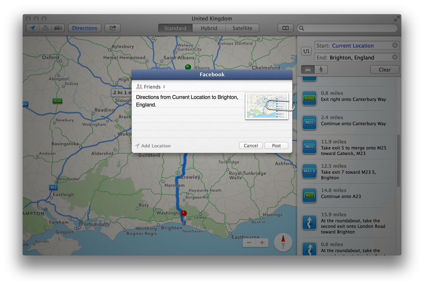 Sharing Maps Directions in OS X   The Instructional Recipients will need to be using a Mac or iOS device that uses Apple Maps   Additionally  it s probably not a good idea to share any directions to  personal