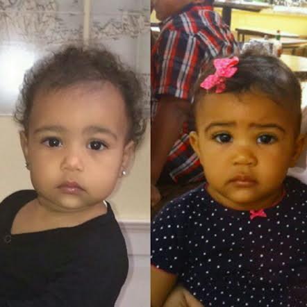 baby photos of both north west and zara right: north west left: zara