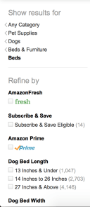 Amazon's left navigation bar as of 19 March 2017 (on my account, anyway). Technically this is more of a filter because it allows the user to view the breadcrumb of categories that brought them to the current page then manipulate a bunch of checkboxes to change the result set. Still, the headings are light grey and larger than the subheadings, which are the same color choices as the itnteractive elements except the subheadings are bold. Only brand elements like the Amazon Prime or Amazon Fresh logo are in color.