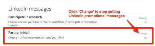 change linkedin partner inmail setting stop linkedin spam