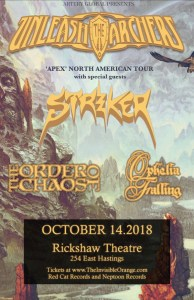 UNLEASH THE ARCHERS / Striker / The Order of Chaos / Ophelia Falling :: The Rickshaw Theatre @ The Rickshaw Theatre | Vancouver | British Columbia | Canada