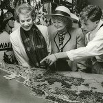 Conor Beau Fitzsimons and US ambassador Margaret Heckler, Maureen O'Hara at the opening of the Flying Boat Museum in 1989 - The Irish Place