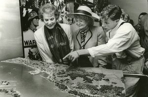 Accompanied by her grandson Conor Beau Fitzsimons and US ambassador Margaret Heckler, Maureen O'Hara at the opening of the Flying Boat Museum in 1989 - The Irish Place