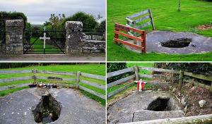The Kilrossanty Holy Wells - l to r, The Entrance to the Wells, St. Brigits Well, St. Mary's Well and the Well of Jesus - The Irish Place