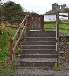 Access to the Rock of Dunamase is via these steps and then a winding uphill gravel path. - The Irish Place