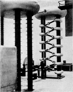 1.2 MV 6 Stage Particle Accelerator of the design used by Walton and Cockcroft. This one was photographed at the Clarendon Lab, Oxford University, in 1948 - The Irish Place