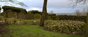 A view from the southern side showing the remains of the kerbing of the cairn that once covered this huge megalithic monument along with a modern cairn in the foreground. - The Irish Place