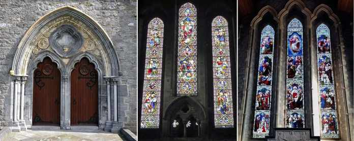 St. Canice's Cathedral - The Irish Place - The splendid west facing Gothic Doorway along with the Stained Glass Windows, West end (middle) and East end over the Alter (right). - The Irish Place