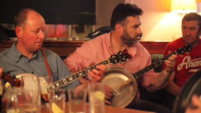 Banjos being played in a session at the Ennis Trad fest 2015. Photo: Bob Singer - The Irish Place