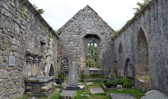 The inside of Kilnaboy Church showing the blocked doorway and offset window in the eastern gable wall. - The Irish Place