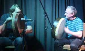 Donnchadh Gough of Danu and Dónal Lunny playing the Bodhrán - The Irish Place