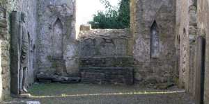The remains of the altar with statue recesses on either side at Kilfane Church - The Irish Place