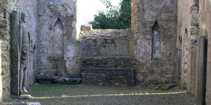 Remains of the altar with statue recesses on either side in Kilfane Church - The Irish Place