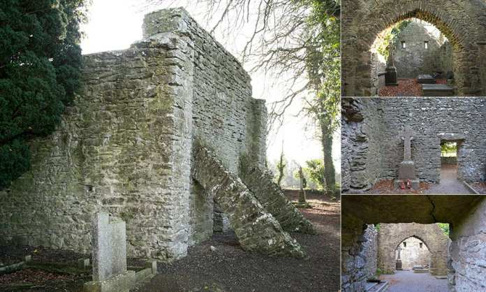 The buttressed west end wall showing the antae and internal views of the church at the Kilree Monastic Site - The Irish Place