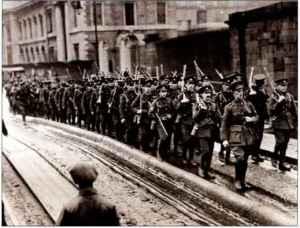 British troops depart from Dublin's North Wall in December 1922.