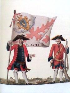 Irish soldiers in the 18th century Spanish Army. The banner reads 'Irlanda'.