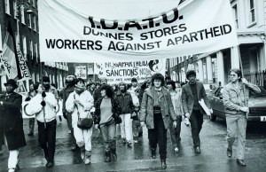 The Dunne's Stores Workers march against apartheid, Dublin 1986.