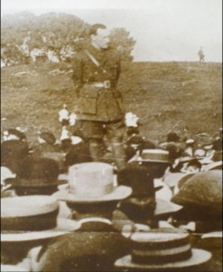 Patrick Pearse addressing a meeting of Volunteers. He addressed the meeting in Limerick January 1914. (Courtesy of the Irish Volunteer website).