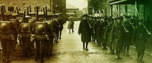 British troops evacuate a barracks in 1922 and Free State troops march in.