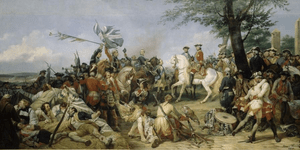 A depiction of the battle of Fontenoy, 1745 in which Irish troops were instrumental in the French victory over British forces.