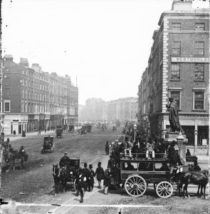 A horse drawn tram on Dublin's Westmoreland Street in the late 19th century.