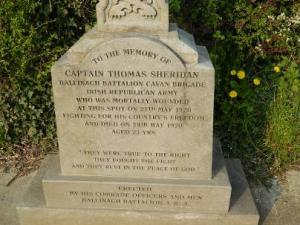 A memorial to Thomas Sheiridan, IRA, killed May 1920. his brother spoke out against the Treaty.