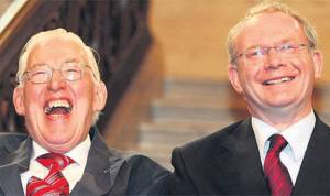 Loyalist Ian Paisley and Republican Martin McGuinness as First Minister and Deputy First Minister of Northern Ireland, 2008.