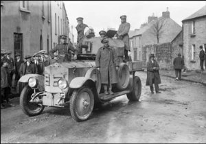 Free State troops in an armoured car in Sligo. The 'mine' was the only effective republican response.