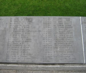 Names of soldiers at the National Army memorial Glasnevin. (Courtesy of the East Wall for All website)