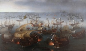 A naval battle between English and Spanish ships.