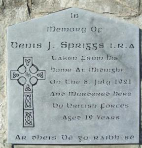 Plaque marking spot where Spriggs was killed.